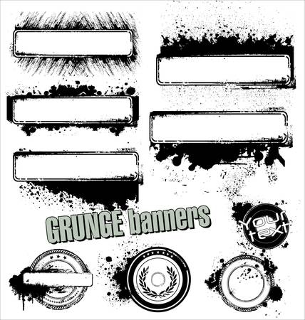 grunge border: ink brush set Illustration