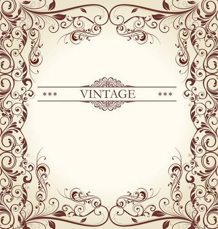 vintage card with ornament background Vector