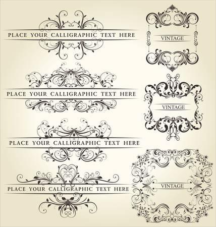 scroll?: Conjunto de elementos caligr�ficos dise�o y decoraci�n de la p�gina - un mont�n de elementos �tiles para embellecer el dise�o Vectores
