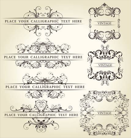 victorian style: Set calligraphic design elements and page decoration - lots of useful elements to embellish your layout Illustration