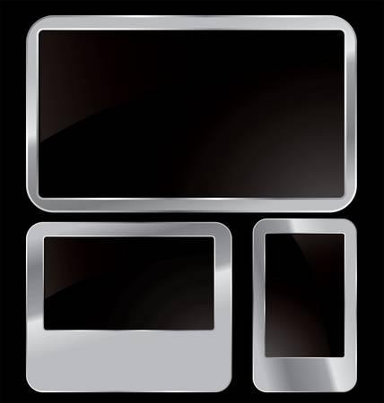 cromo: Cepillado suave superficie brillante de metal textura de fondo ilustraci�n