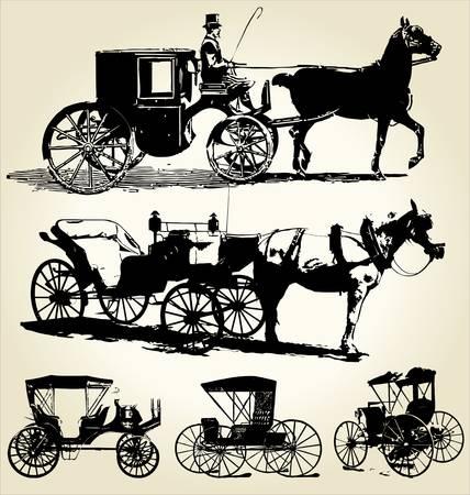 carriage: a cavallo e in carrozza silhouette di raccolta Vettoriali