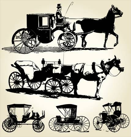 horse carriage: horse and carriage silhouette collection Illustration