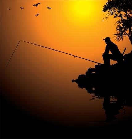 river rock: Pescatore Vettoriali