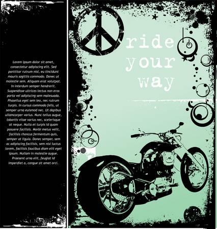 tiges: arri�re-plan avec une image de moto Illustration