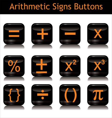 arithmetic: Arithmetic Signs Buttons Illustration