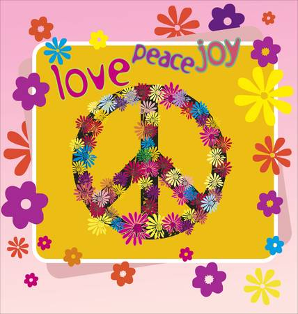 60s hippie: A illustration of a peace symbol and flowers Illustration