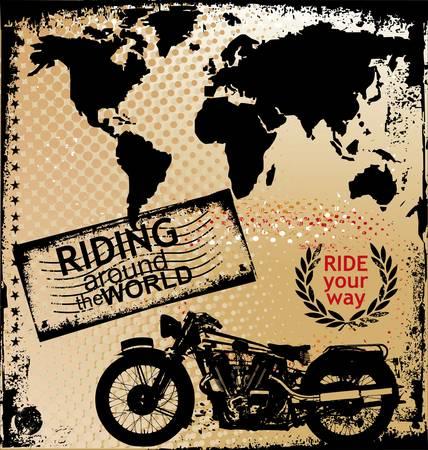 casco de moto: de fondo con la imagen de la motocicleta Vectores