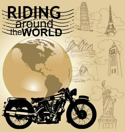 biker: background with motorcycle image and world landmarks