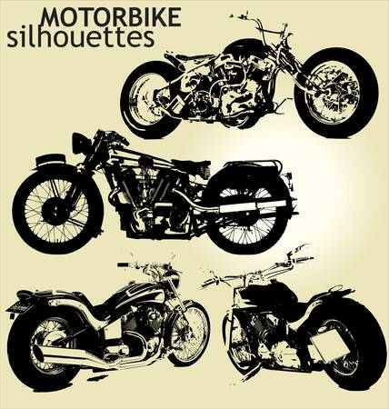 old motorcycle: set of motorbike silhouettes
