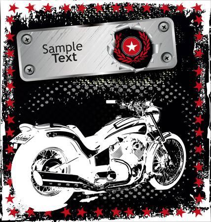 silueta moto: grunge de fondo con la imagen de la motocicleta Vectores