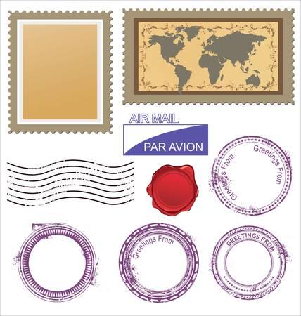timbre voyage: Videz timbres en caoutchouc grunge Illustration