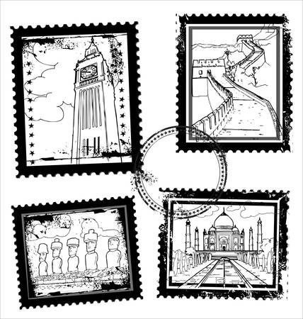 Postmarks with world landmarks Stock Vector - 10869119