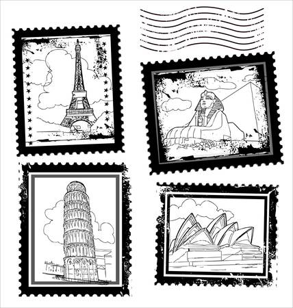 Postmarks with world landmarks Stock Vector - 10869120