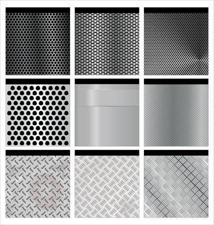 강철: 금속 질감 9 세트. 삽화