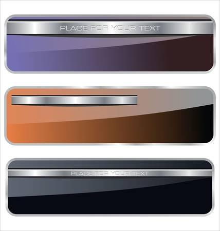 metallic button: Banners, metallic set Illustration