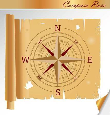 nautical star: Vector oldstyle wind rose compass