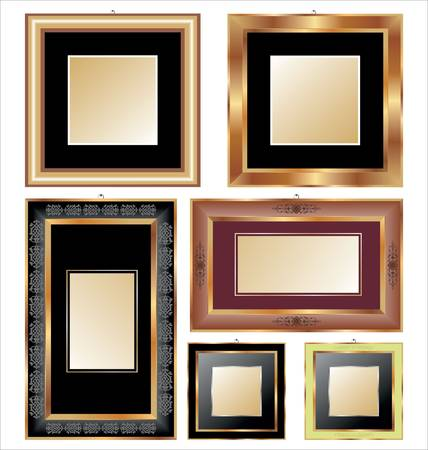 Set of golden and classical picture frames for your individual content Vector