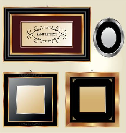 Set of golden and classical picture frames for your individual content Stock Vector - 11094791