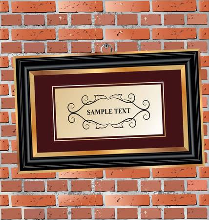 Gallery Interior with empty frame on brick wall Vector