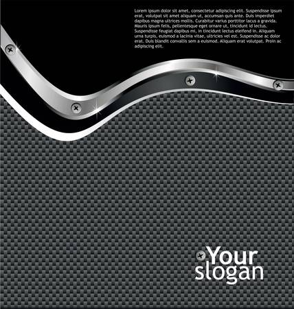 fibra: Metallo fibra di carbonio sfondo lucido Vettoriali