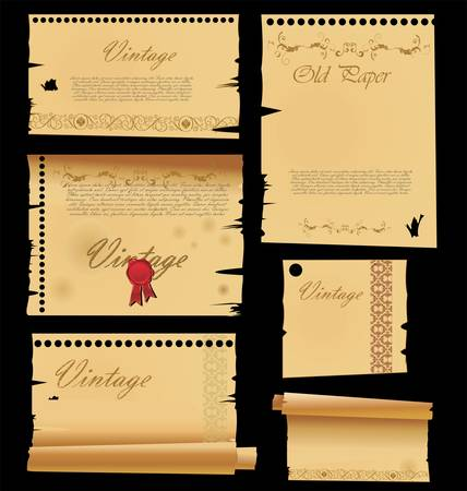 Stack of old papers and photo frame Vector