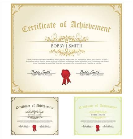 certificat diplome: Vector illustration de certificats multicolores d�taill�es