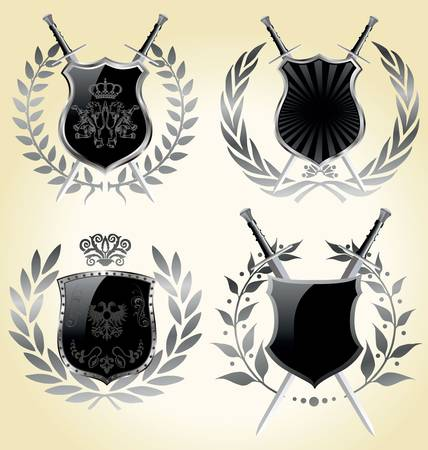 Set of black steel shields - isolated Vector