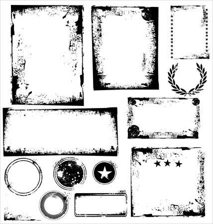 scratched: Grunge Images frames - set  Illustration