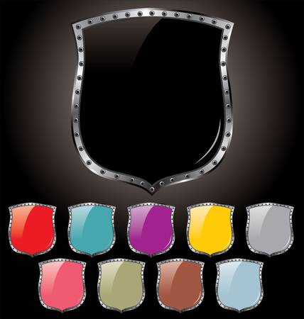 Set of shields in 10 different colors  Ilustrace