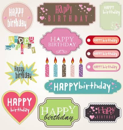 chocolate box: Happy Birthday Card Set Illustration