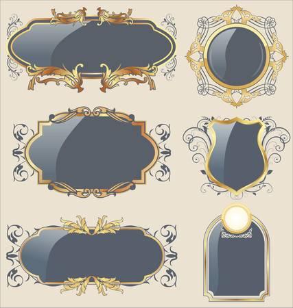 lis: Ornate framed labels