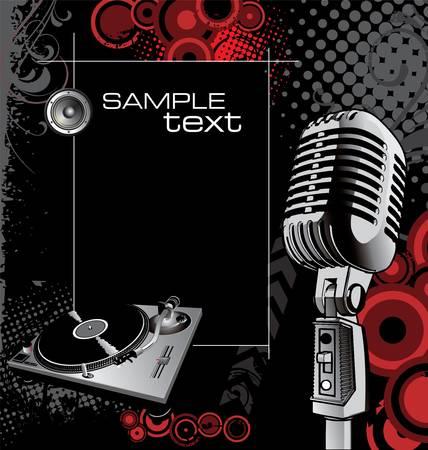 microfono de radio: Música de fondo Vectores