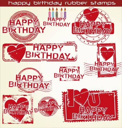 happy birthday grunge stamps Stock Vector - 11350234