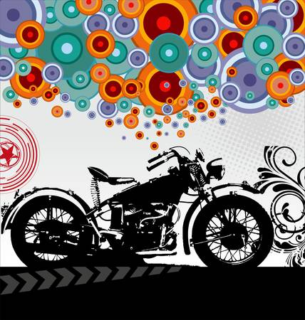 hot rod: Retro motorcycle background Illustration