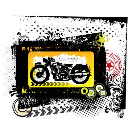 hotrod: Retro motorcycle background Illustration