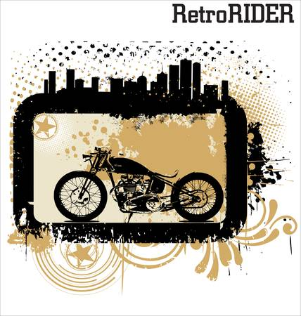 rods: Retro motorcycle background Illustration