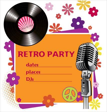 vinyl disk player: Retro party background Illustration