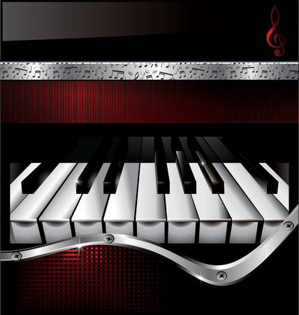 black piano: Abstract music background Illustration