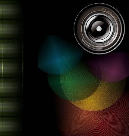 reporter: camera lens background Illustration