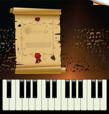 a vintage piano with empty old paper Stock Vector - 11568967