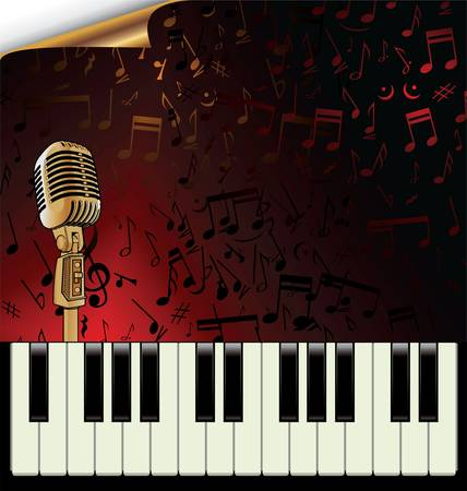 broadway: Ein Vintage-Piano mit alten Mikrofon