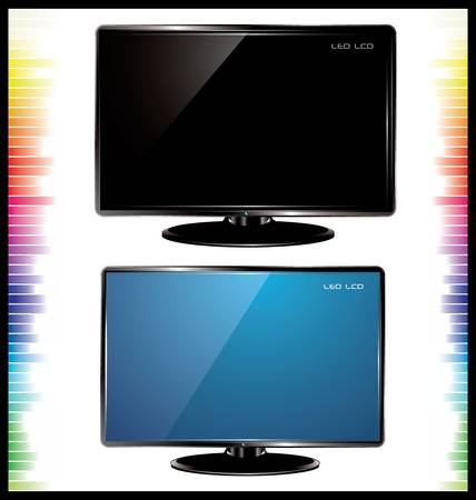 cinema viewing: lcd tv, realistic vector illustration