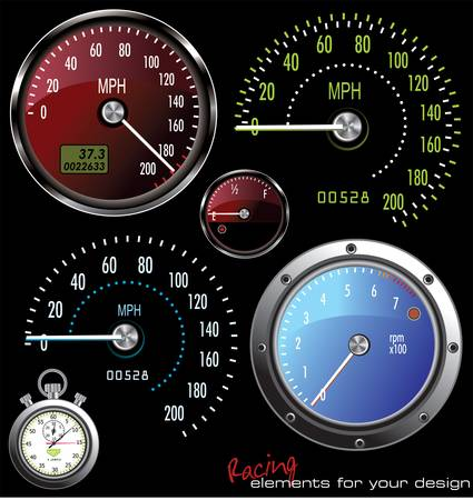 odometer: Set of vector Speedometer and Counter in miles and kilometers