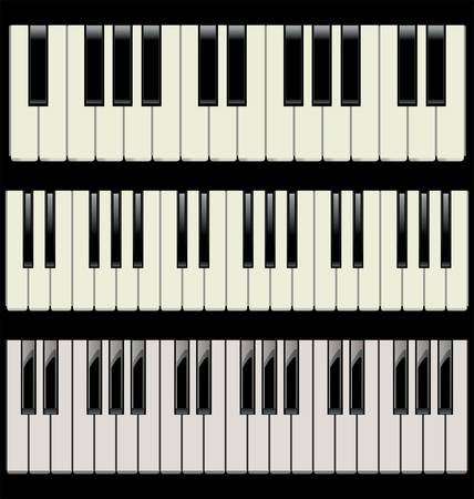 3 different piano keyboards Vector