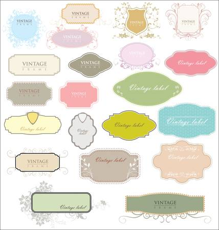 ornamental frame: vintage colorful empty labels Illustration