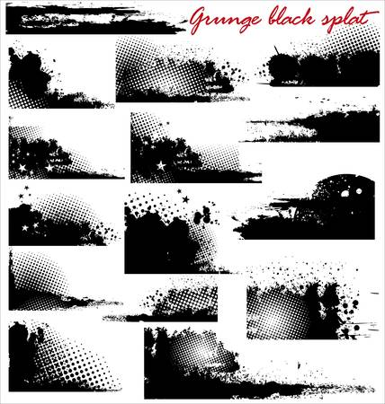 Grunge black splat set Vector