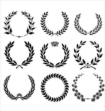 Set of 9 different vector laurels Illustration