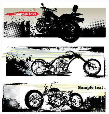 bobber: grunge motorcycle banners Illustration