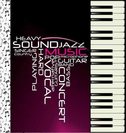 in tune: Music purple piano background